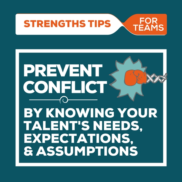 image that says: prevent conflict by knowing your talent's needs, expectations, and assumptions - under the header of strengthsfinder tips for teams