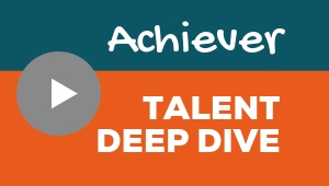 Image showing a video player with Achiever talent theme deep dive