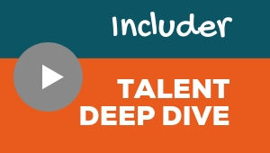 Image showing a video player with Includer talent theme deep dive