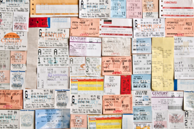 movie stub collage