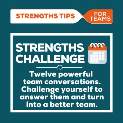 [Image] Strengths Challenge: 12 powerful team conversations. Challenge yourself to answer them and turn into a better team.
